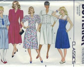 Vintage 1989 Butterick 6369 UNCUT Sewing Pattern Misses Dress Size 6-8-10