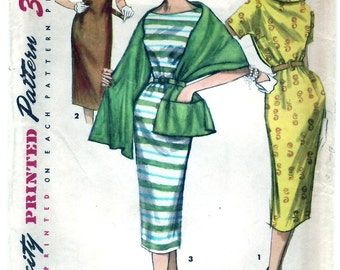 Vintage 1956 Simplicity 1446 UNCUT Sewing Pattern Junior's, Misses' One-Piece Chemise Dress and Stole Size 12 Bust 30