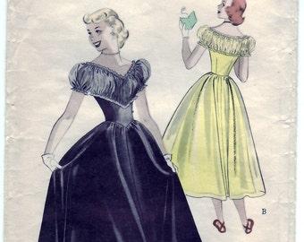 Vintage 1950 Butterick 5526 Sewing Pattern Teen-Age Dance Dress - Decollete Dress Size 14 Bust 32