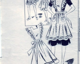 Vintage 1940s Mail Order Country Gentleman 3156 Sewing Pattern Full Apron and Bonnet Size 18