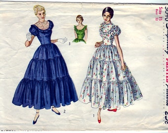 Vintage 1949 Simplicity 3040 Sewing Pattern Junior's, Misses' One-Piece Dress Size 15 Bust 33