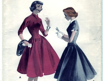 Vintage 1955 Butterick 7521 Sewing Pattern Teen's Age Long Line Dress Size 14 Bust 32