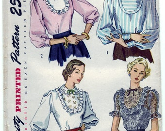 Vintage 1948 Simplicity 2589 Sewing Pattern Misses' Blouse Size 14 Bust 32