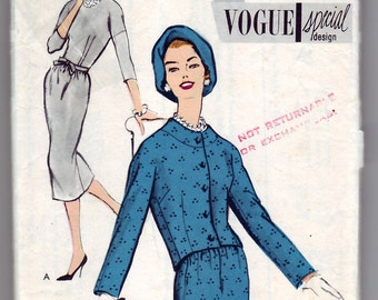 Vintage 1957 Vogue S-4850 Special Design Sewing Pattern Misses' One-Piece Dress and Jacket Size 12 Bust 32