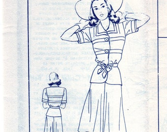 Vintage 1940s Good House Keeping B246 FF Sewing Pattern Misses' Two-Piece Dress Size 16 Bust 34