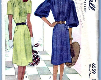 Vintage 1946 McCall 6559 Sewing Pattern Junior Misses' Dress Size 16 Bust 34