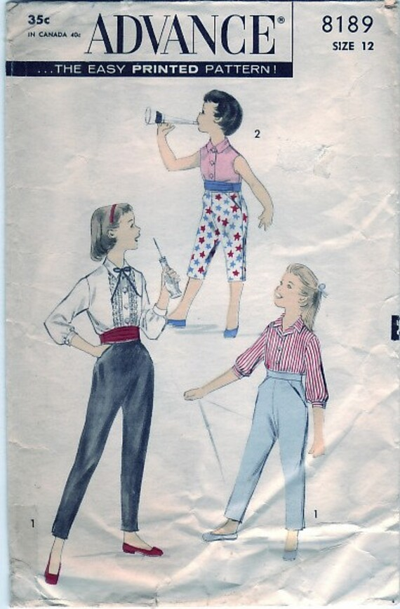 Vintage 1950s Advance 8189 Sewing Pattern Girl's Home or Play Separates Size 12