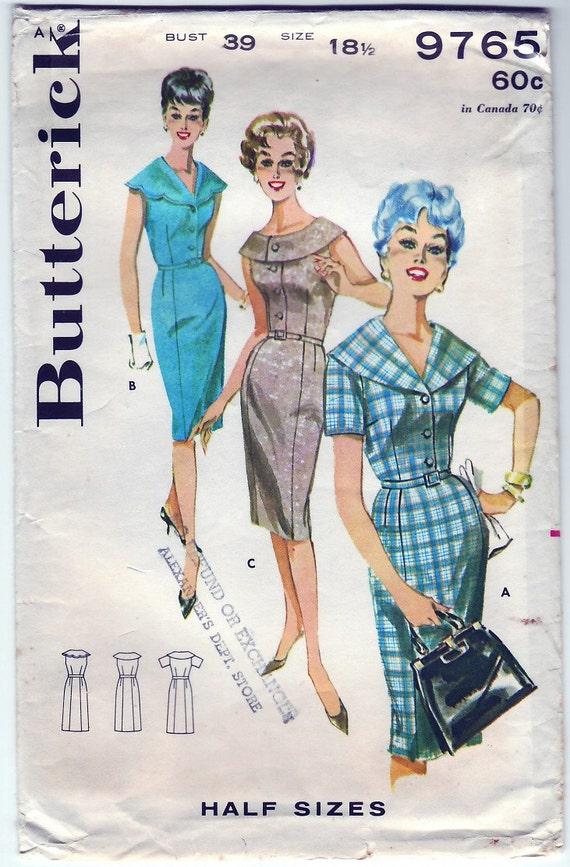 FREE SHIPPING Vintage 1961 Butterick 9765 Sewing Pattern Misses' Sheath Slimliner Dress Size 18 1\/2 Bust 39