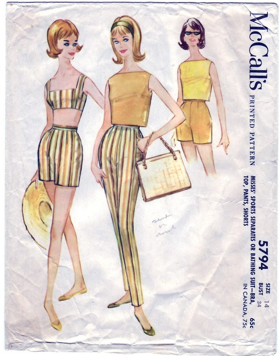FREE SHIPPING Vintage 1961 McCall's 5794 Sewing Pattern Misses' Sports Separates or Bathing Suits - Bra, Top, Pants, Shorts Size 14 Bust 34