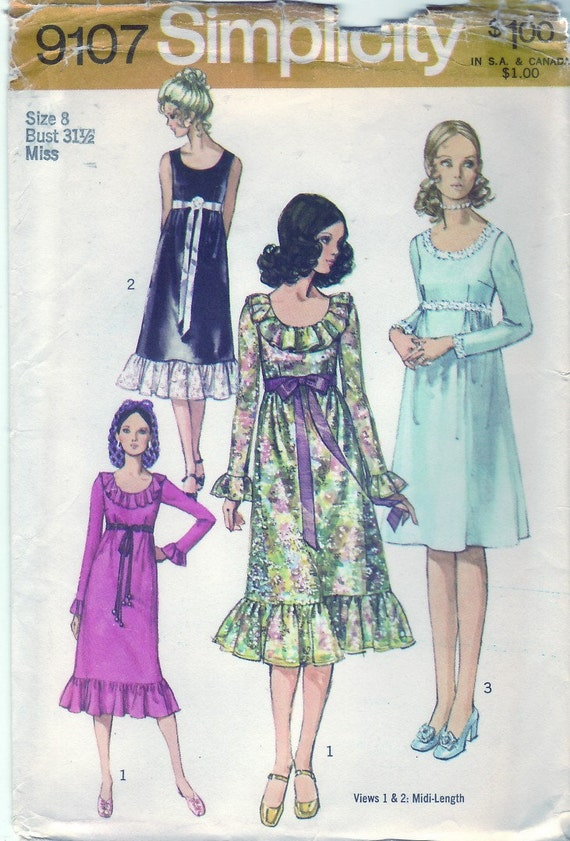 Vintage 1970 Simplicity 9107 UNCUT Sewing Pattern Misses' Dress in Two Length Size 8 Bust 31-1/2