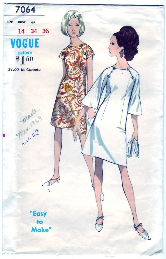 FREE SHIPPING Vintage 1966 Vogue 7064 Sewing Pattern Misses One-Piece Dress Size 14 Bust 34