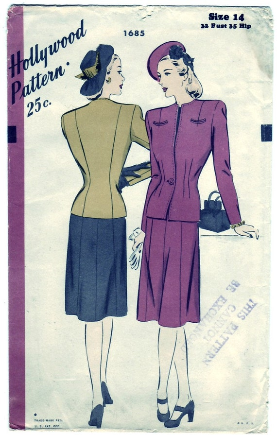 Vintage 1945 Hollywood 1685 Sewing Pattern Misses' Two-Piece Suit Size 14 Bust 32