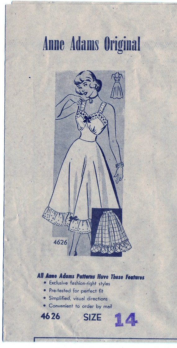 FREE SHIPPING Vintage 1947 Anne Adams 4626 Sewing Pattern Misses' Slip Dress Size 14 Bust 32