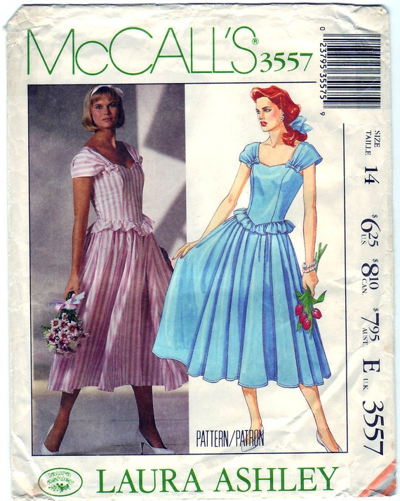 Vintage 1988 McCall's 3557 Sewing Pattern Misses' Dress Size 14 Bust 36