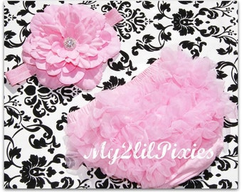 Bloomers and Headband- Baby Bloomers, Pink Baby Bloomer. Baby Headband, Baby Girl Set, Ruffle bloomer, newborn bloomer. Diaper cover, pink