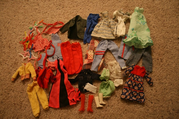 REDUCED -  Large Lot Vintage Barbie Clothes and Accessories - Dresses - Purses - Shoes - Pants - Jackets - FREE SHIPPING
