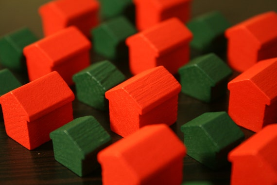 Vintage Wooden Houses And Hotels Monopoly Pieces