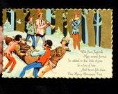 Old Vintage Elf Tree Merry Christmas Postcard