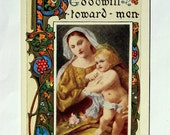 Mary and Baby Jesus Vintage Postcard, Peace on Earth, Classic Art, Lovely