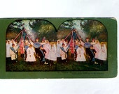 Stereo view Card May Pole Dance, 1898 Stereograph