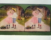 Antique Stereograph Stereoview Card Photo First Love, Kids Kissing, 1899