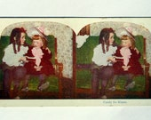 Stereograph Stereo View Card Photo Victorian Kids, Candy for Kisses