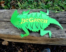 Horny Toad Metal Art, Eco Awareness, 3 D Horned Lizard, Green