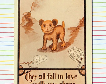 Humorous Dog Vintage Postcard, Signed Cobb X, Unique