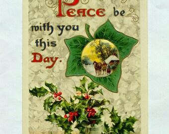 1908 Vintage Peace Christmas Postcard, Horse, Child, Holly