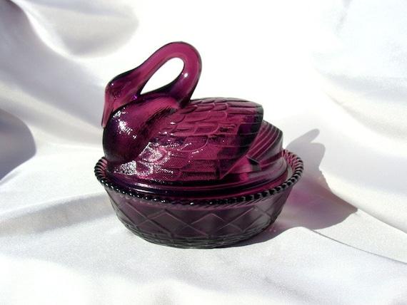 Amethyst Purple Glass Swan on a Basket Trinket Box Dish, Westmoreland Mk