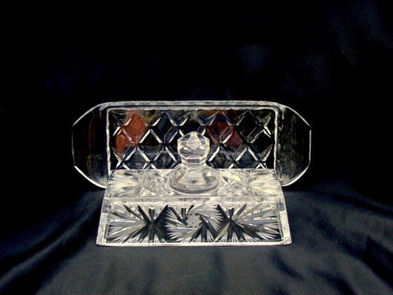 Cut Crystal Pinwheel Ray Covered Butter Dish, looks European in Design