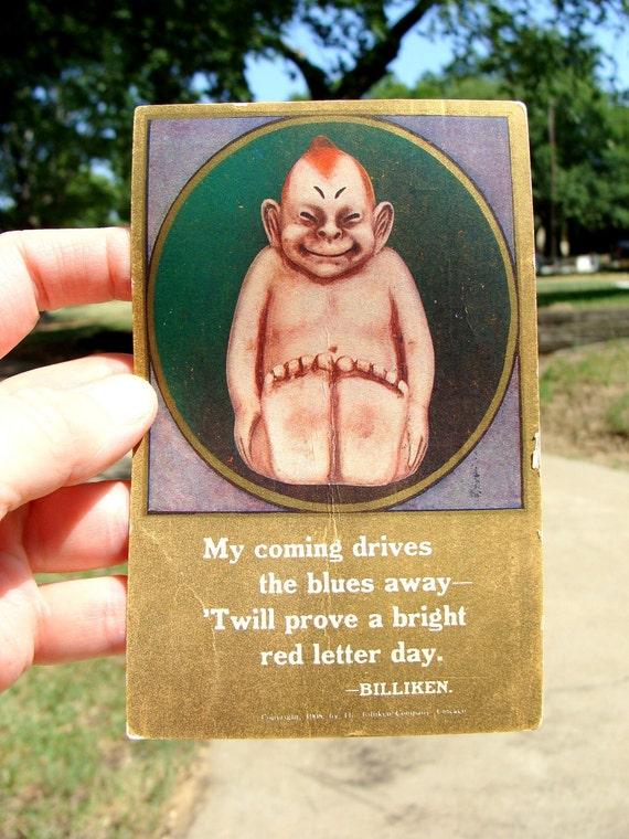 "1909 ""Billiken"" Charm Doll Postcard, Orig Good Luck, Copyright Billiken Co,"