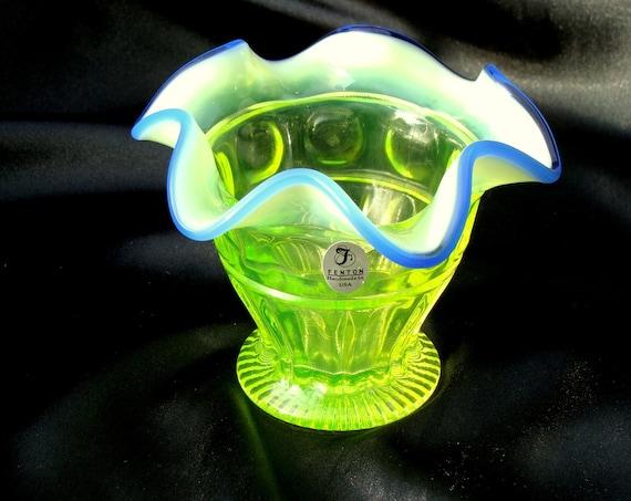 Fenton Vaseline Opalescent Glass Ruffle Vase, Footed, Thumbprint,  Blue Edging