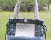 Purse SALE Handmade Blue Prairie Paisley - Special Discount - Bow Tuck Tote