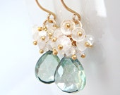 Teal Green Quartz Moonstone Earrings in 14k Gold Fill, Handmade Gemstone Cluster Earrings