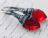 Red Stone Earrings Sterling Silver, Gemstone Dangle Earrings, Candy Apple Leaves, aubepine