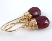 July Birthstone Ruby Earrings 14k Gold Fill, Red Gemstone Dangle Earrings Wire Wrapped Handmade