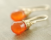 Orange Carnelian Gemstone Earrings, Gold Dangle Earrings,Tangerine Wire Wrap Jewelry, aubepine