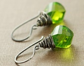 Leaf Green Earrings, Sterling Silver Dangle Earrings, Wire Wrapped Quartz Twist Briolettes