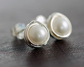 June Birthstone Pearl Post Earrings in Sterling Silver, Handmade Wire Wrapped Pearl Jewelry