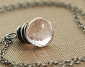 Pastel Pink Stone Necklace in Sterling Silver, Gemstone Pendant, Handmade