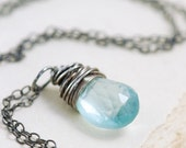 Aquamarine Necklace Wrapped in Sterling Silver, March Birthstone Jewelry, Sky Blue Gemstone Necklace Pendant Handmade