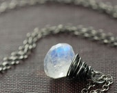 Moonstone Necklace in Oxidized Sterling Silver, Handmade Gemstone Pendant