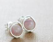 Pastel Post Earrings, Gemstone Lepidolite Sterling Silver Lavender Wire Wrapped Handmade, aubepine