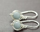 Gray Stone Earrings in Sterling Silver, Angelite Gemstone Wire Wrapped Handmade, aubepine - aubepine