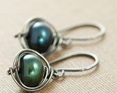 Green Pearl Earrings Wrapped in Sterling Silver, Oxidized Pearl Dangle Earrings, Handmade