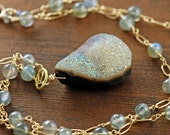 Druzy Labradorite Necklace in 14k Gold Fill, Gemstone Pendant Necklace