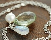 Green Amethyst Moonstone Pearl Necklace, Sterling Silver Pendant Necklace, February Birthstone Jewelry, Handmade Necklace, aubepine