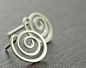 Swirl Post Earrings Sterling Silver, Modern Stud Earrings, aubepine