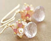 Pastel Cluster Earrings 14k Gold Fill, Peach Pink Amethyst Gemstone Earrings, Delicate Jewelry